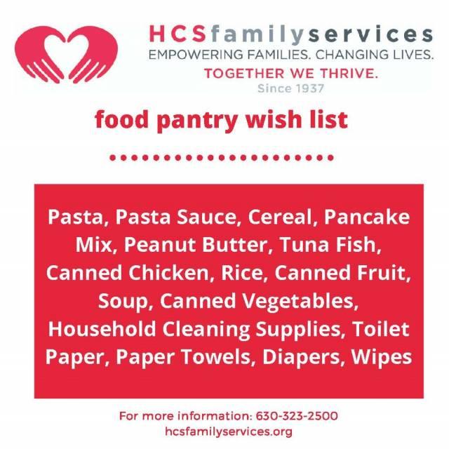 Food drive wish list