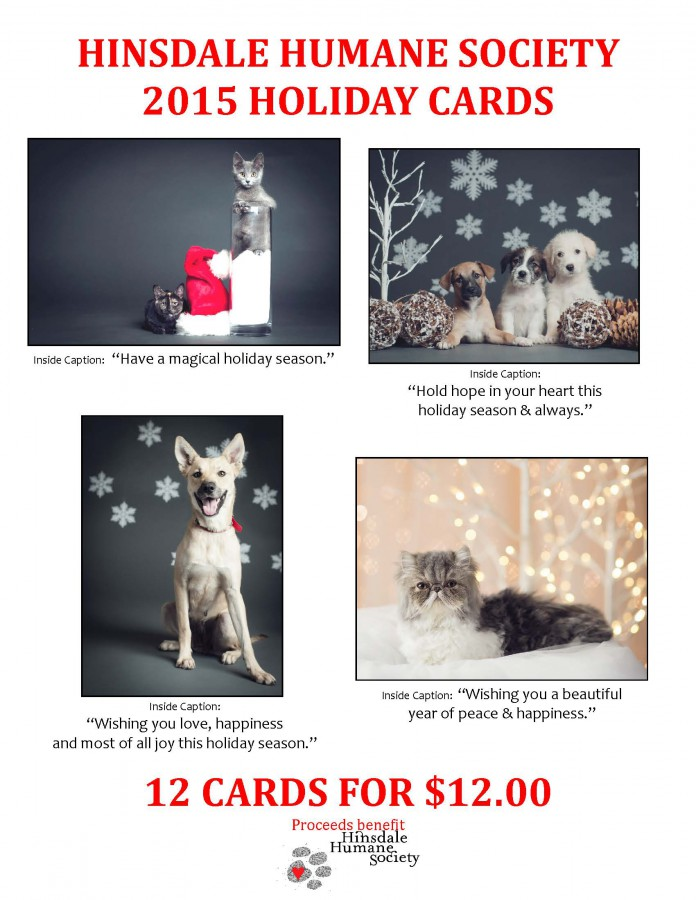 participating area vet offices and retailers cover photos and messages are featured below - Humane Society Christmas Cards
